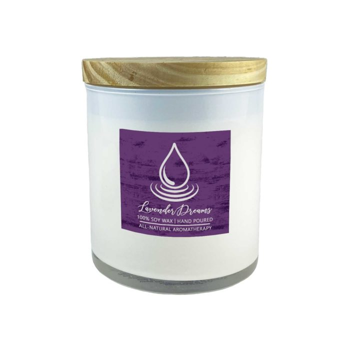 Lavender Dreams 1000mg CBD Candles with Natural Wood Lid